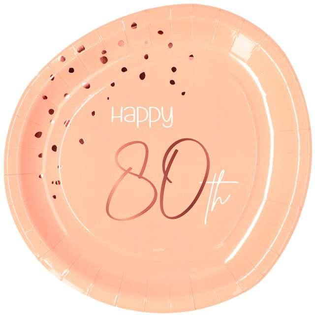 """Talerzyki """"Elegant - Happy Birthday 80"""", różowe, Folat"""