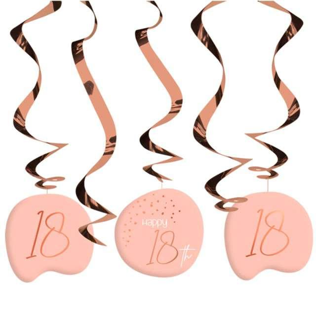 """Świderki wiszące """"18 urodziny - Happy Birthday Elegant"""", różowe, Folat, 5 szt"""