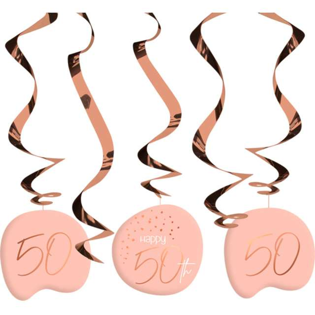 """Świderki wiszące """"50 urodziny - Happy Birthday Elegant"""", różowe, Folat, 5 szt"""