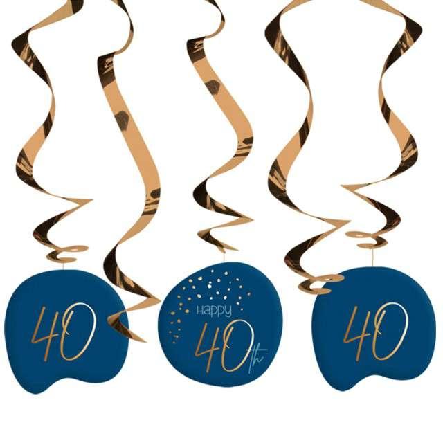 """Świderki wiszące """"40 urodziny - Happy Birthday Elegant"""", Folat, 5 szt"""