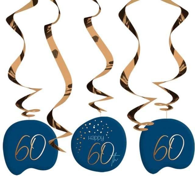 """Świderki wiszące """"60 urodziny - Happy Birthday Elegant"""", Folat, 5 szt"""