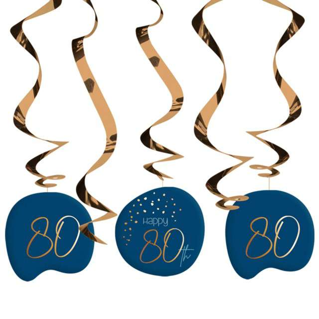 """Świderki wiszące """"80 urodziny - Happy Birthday Elegant"""", Folat, 5 szt"""