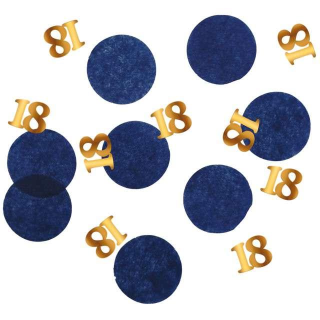 """Konfetti """"18 - Urodziny"""", niebiesko-złote, Folat, 25g"""