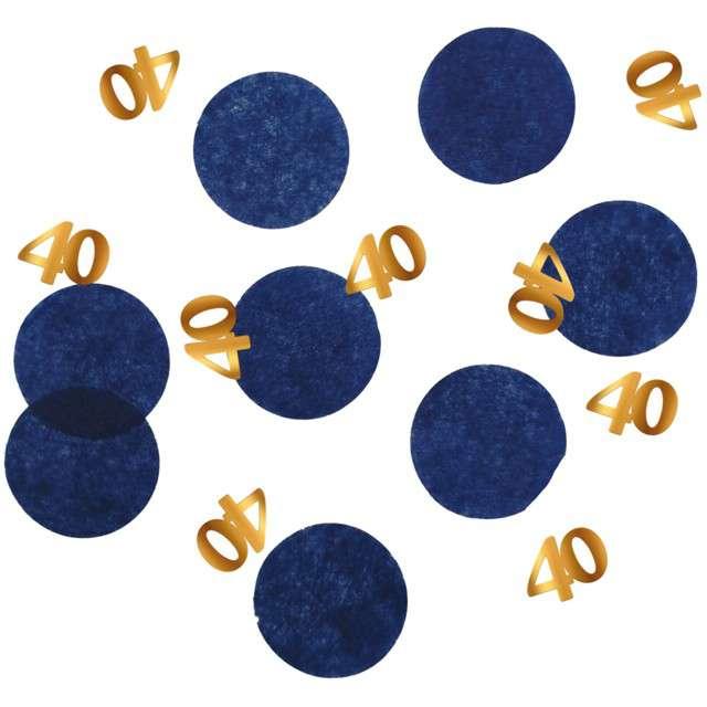 """Konfetti """"40 - Urodziny"""", niebiesko-złote, Folat, 25g"""