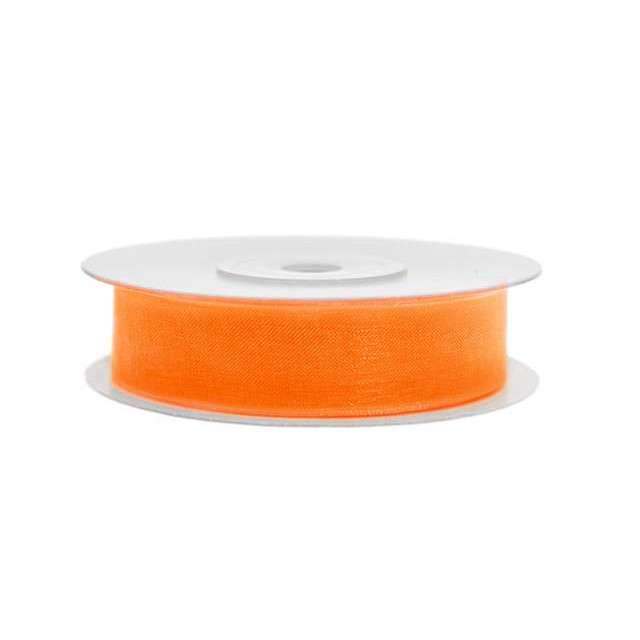 Tasiemka szyfonowa, pomarańczowa, 12 mm / 25 m
