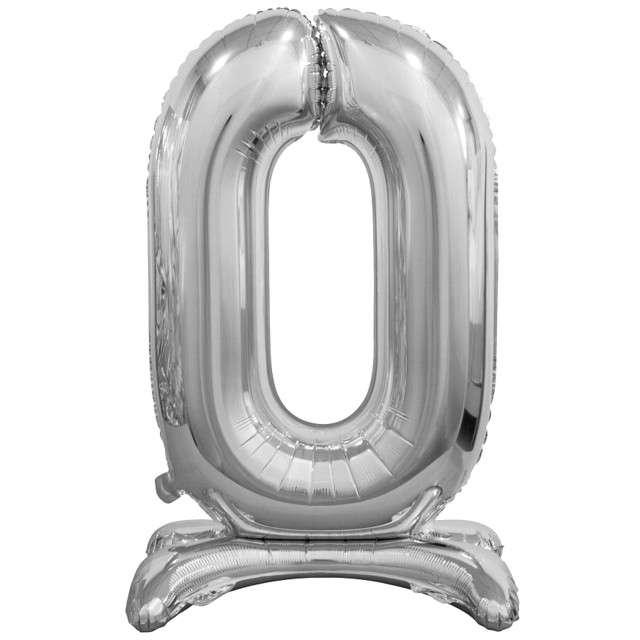 """Balon foliowy """"Cyfra 0 stojąca"""", SREBRNY, Godan, 29"""""""