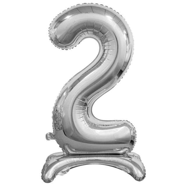 """Balon foliowy """"Cyfra 2 stojąca"""", srebrny, Godan, 29"""""""