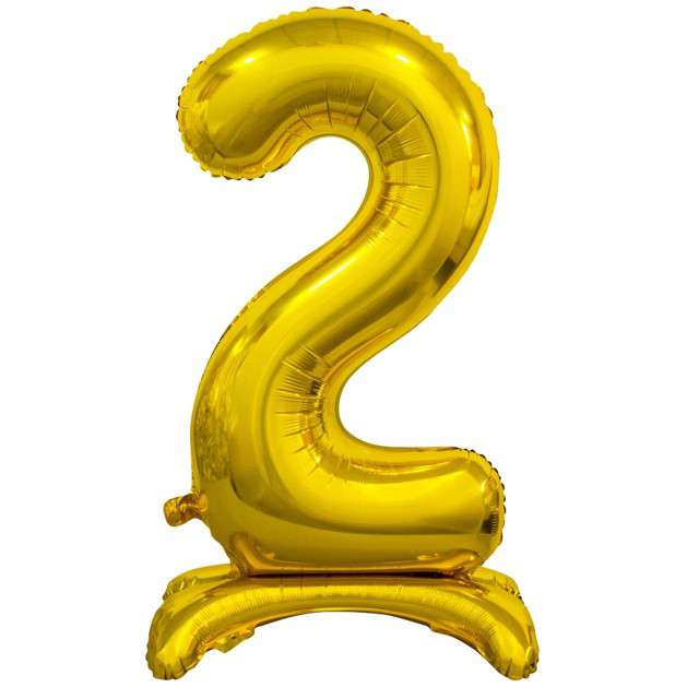"""Balon foliowy """"Cyfra 2 stojąca"""", złoty, Godan, 29"""""""