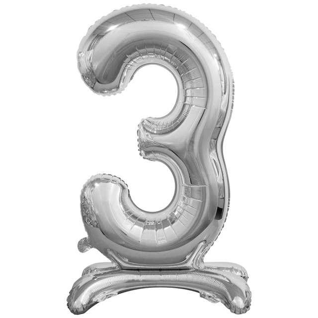 """Balon foliowy """"Cyfra 3 stojąca"""", srebrny, Godan, 29"""""""