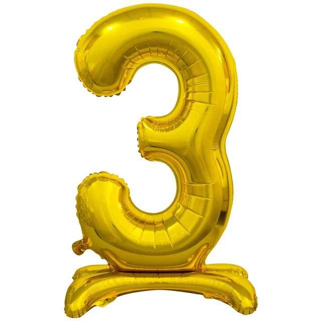 """Balon foliowy """"Cyfra 3 stojąca"""", złoty, Godan, 29"""""""
