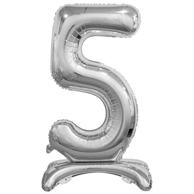 """Balon foliowy """"Cyfra 5 stojąca"""", srebrny, Godan, 29"""""""