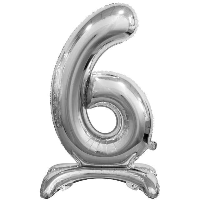 """Balon foliowy """"Cyfra 6 stojąca"""", srebrny, Godan, 29"""""""