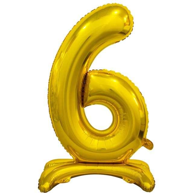 """Balon foliowy """"Cyfra 6 stojąca"""", złoty, Godan, 29"""""""