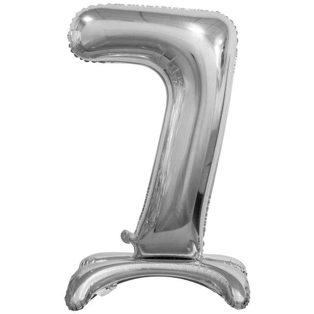 """Balon foliowy """"Cyfra 7 stojąca"""", srebrny, Godan, 29"""""""