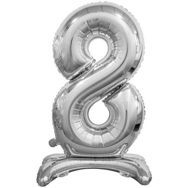 """Balon foliowy """"Cyfra 8 stojąca"""", srebrny, Godan, 29"""""""