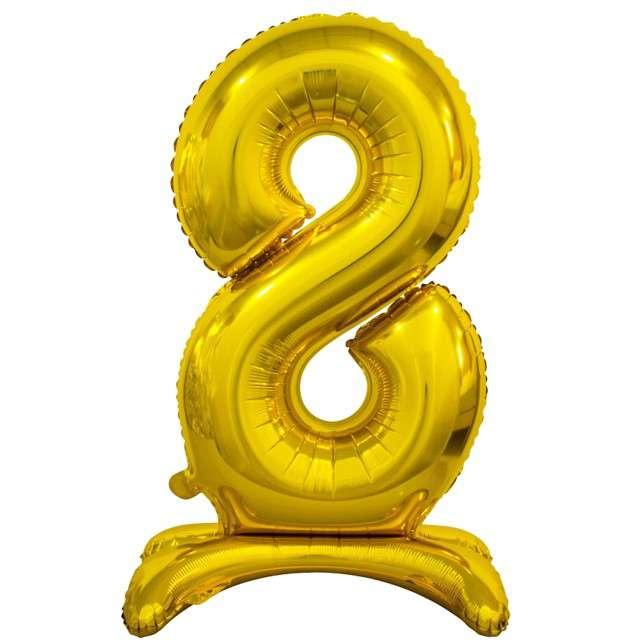 """Balon foliowy """"Cyfra 8 stojąca"""", złoty, Godan, 29"""""""
