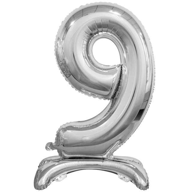 """Balon foliowy """"Cyfra 9 stojąca"""", srebrny, Godan, 29"""""""