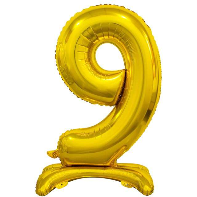 """Balon foliowy """"Cyfra 9 stojąca"""", złoty, Godan, 29"""""""