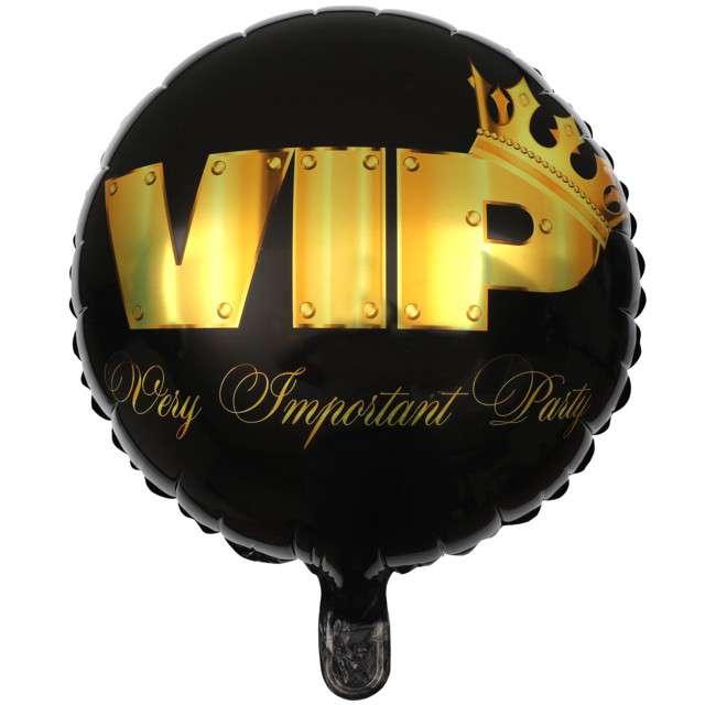 """Balon foliowy """"VIP - Very Important Party"""", czarno-złoty, Santex, 18"""", RND"""