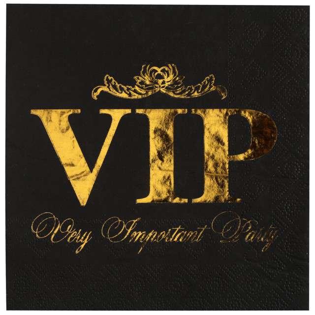 "Serwetki ""VIP- Very Important Party"", czarno-złote, Santex, 33 cm, 10 szt"