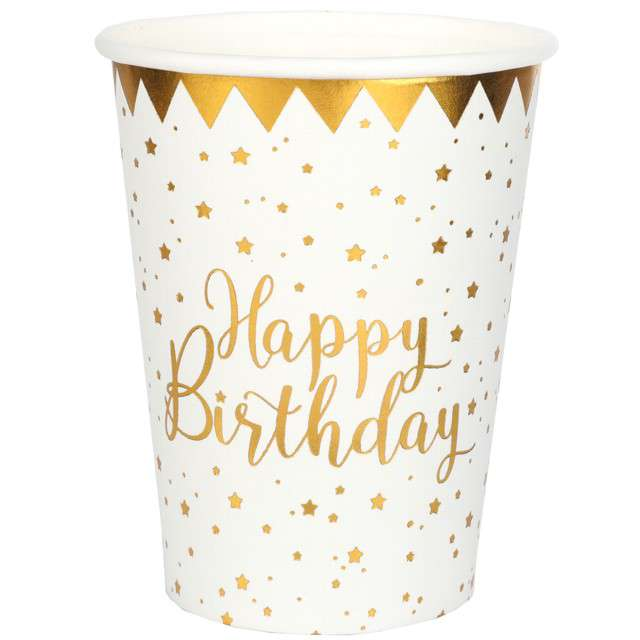 """Kubeczki papierowe """"Happy Birthday"""", biało- złote, Santex, 250 ml, 10 szt"""