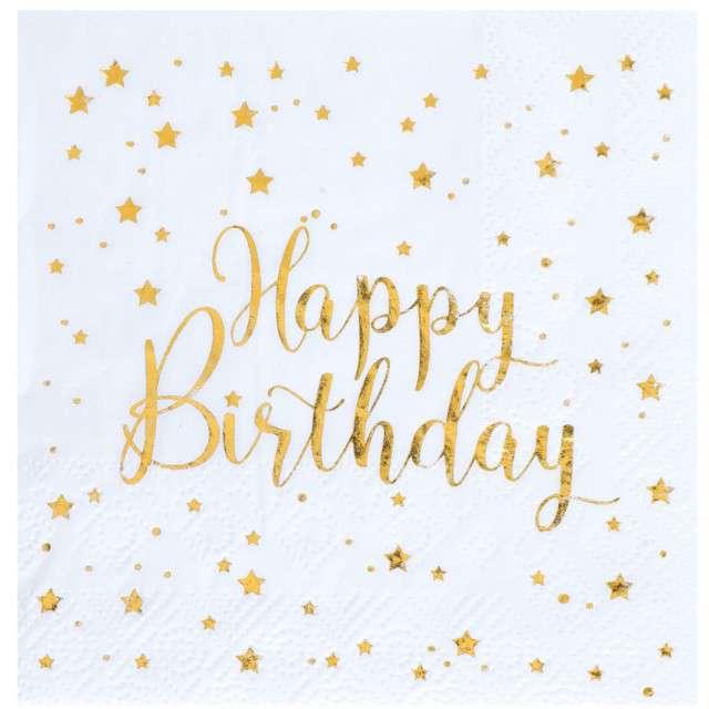 """Serwetki """"Happy Birthday"""", biało- złote, Santex, 25 cm, 20 szt"""