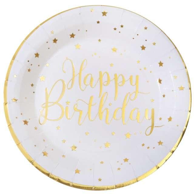 """Talerzyki papierowe """"Happy Birthday"""", biało-złote, Santex, 22,5 cm, 10 szt"""
