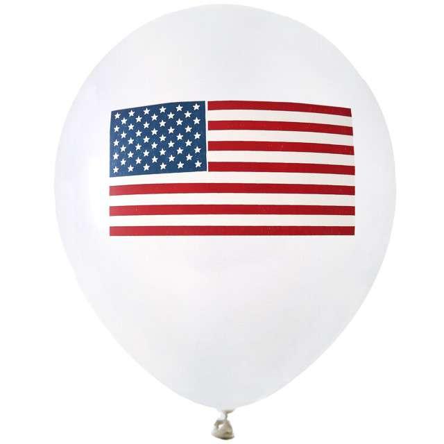 "Balony ""USA Party"", białe, Santex, 9"", 8 szt"