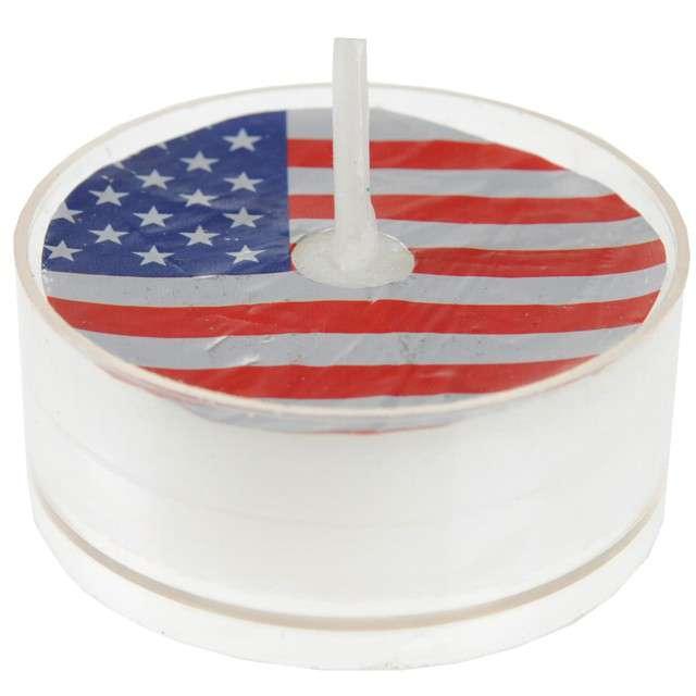 "Świeczka ""USA Tealight"", biała, Santex, 4 szt,"