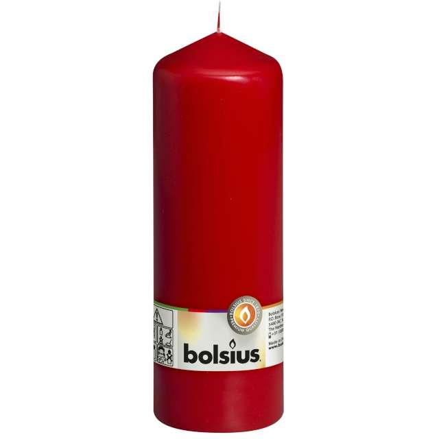 """Świeca pieńkowa """"Classic Long"""", czerwona, Bolsius, 200/68mm"""