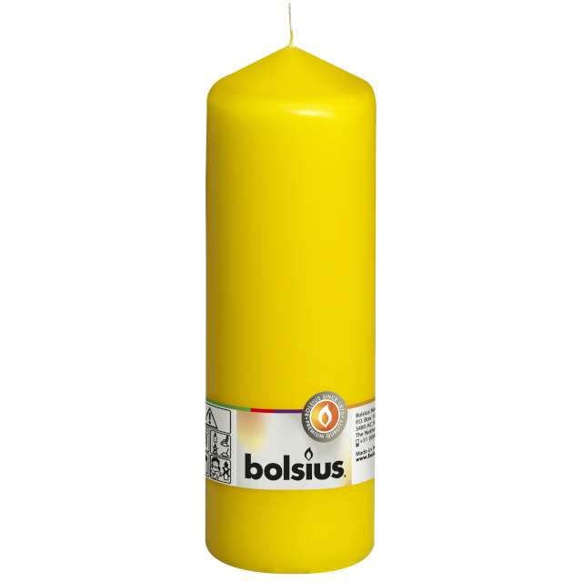 "Świeca pieńkowa ""Classic Long"", żółta, Bolsius, 200/68mm"