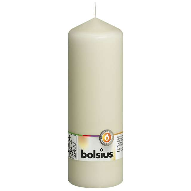 "Świeca pieńkowa ""Classic Long"", kremowa, Bolsius, 200/68mm"