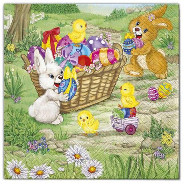 """Serwetki """"Wielkanoc - króliki z jajkami w koszu"""", Maki, 33 cm, 20 szt"""
