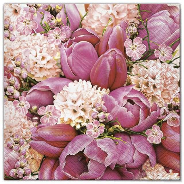 """Serwetki """"Wielkanoc - różowy bukiet"""", Maki, 33 cm, 20 szt"""