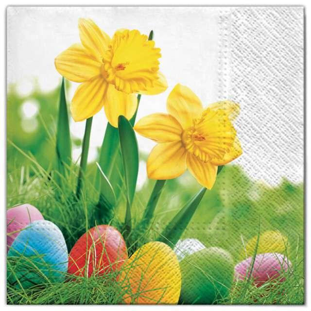 """Serwetki """"Wielkanoc - żonkile z pisankami"""", Maki, 33 cm, 20 szt"""