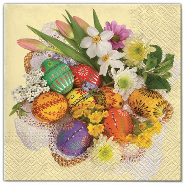 """Serwetki """"Wielkanoc - kwiaty i pisanki """", Maki, 33 cm, 20 szt"""
