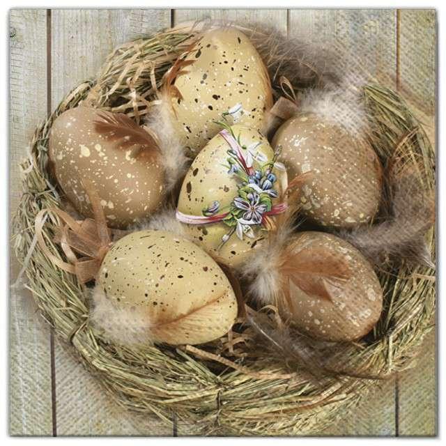 """Serwetki """"Wielkanoc - złote pisanki w koszu """", Maki, 33 cm, 20 szt"""