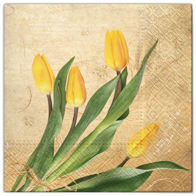 """Serwetki """"Kwiaty tulipany żółte"""", Maki, 33 cm, 20 szt"""