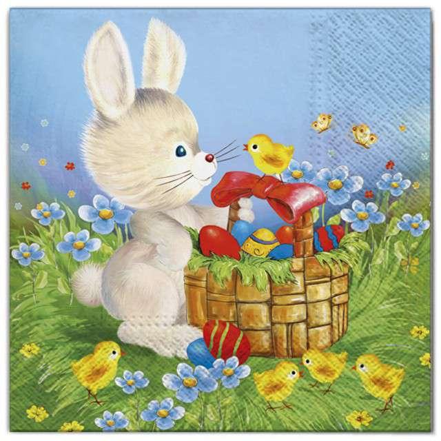 """Serwetki """"Wielkanoc - królik z koszykiem"""", Maki, 33 cm, 20 szt"""