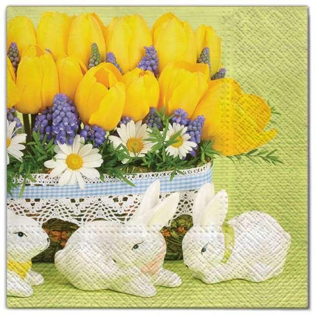 """Serwetki """"Wielkanoc - tulipany z królikami"""", Maki, 33 cm, 20 szt"""