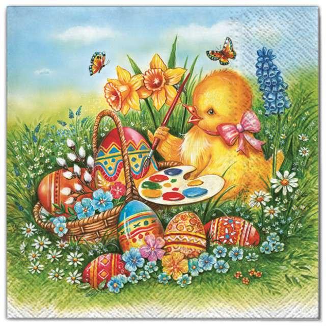 """Serwetki """"Wielkanoc - pisklak z jajkami"""", Maki, 33 cm, 20 szt"""