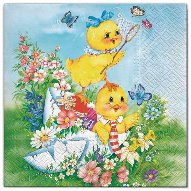 """Serwetki """"Wielkanoc - pisklak z motylami"""", Maki, 33 cm, 20 szt"""