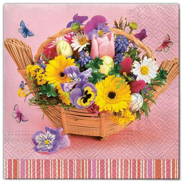 """Serwetki """"Kwiaty bukiet w koszu"""", Maki, 33 cm, 20 szt"""
