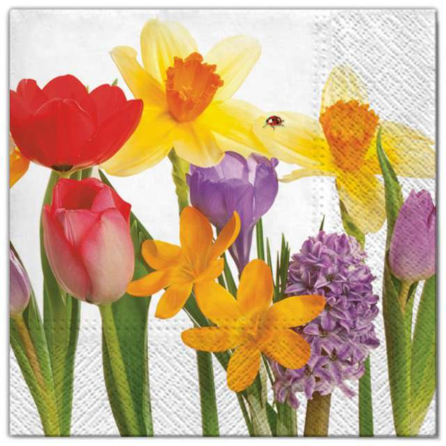 """Serwetki """"Kwiaty żonkile i róże"""", Maki, 33 cm, 20 szt"""