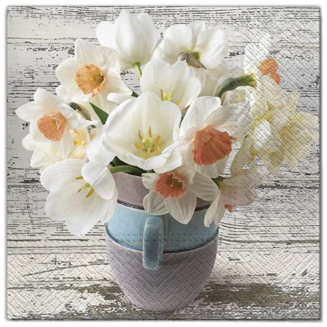 """Serwetki """"Kwiaty żonkile białe"""", Maki, 33 cm, 20 szt"""