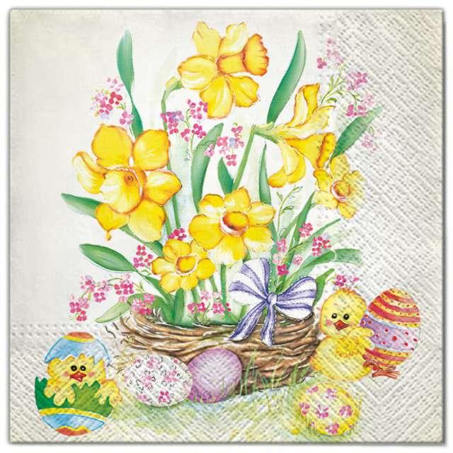 """Serwetki """"Wielkanoc - jajka i żonkile"""", Maki, 33 cm, 20 szt"""