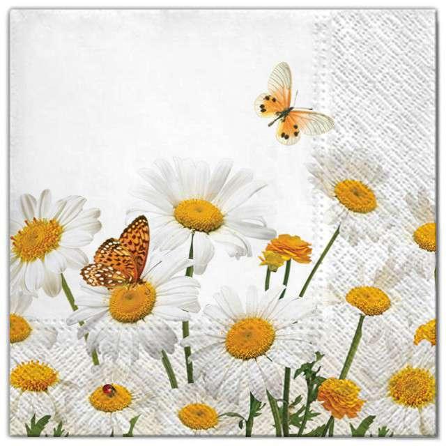 """Serwetki """"Kwiaty stokrotki i motyle"""", Maki, 33 cm, 20 szt"""