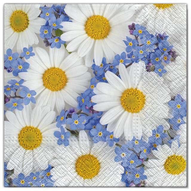 """Serwetki """"Kwiaty stokrotki"""", Maki, 33 cm, 20 szt"""