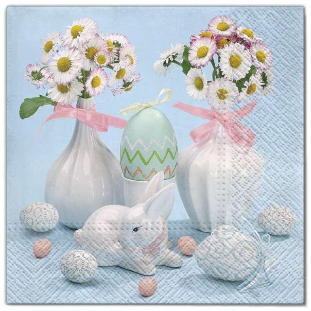 """Serwetki """"Wielkanoc - stokrotki w porcelanie"""", Maki, 33 cm, 20 szt"""