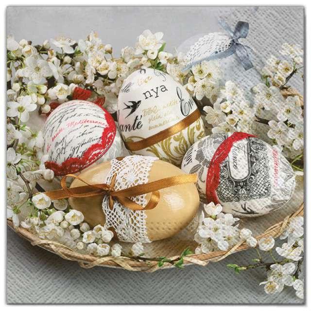 """Serwetki """"Wielkanoc - pisanki w kwiatach"""", Maki, 33 cm, 20 szt"""